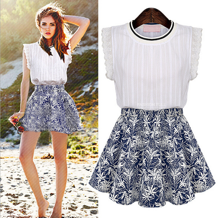 99c1c4ccf7d9f2 Women Crop Top Pencil Skirt Set:Fashion Floral Printed 2 Piece Set White  Skirt Set Cotton Skirt and Blouse Sets,Female Clothes