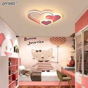 Image 3 - לב Led נברשת אור עבור ילדה חדר שינה Plafond אקריליק תאורת מנורת מודרני חדש מתקן Lampadario Luminaire Lustres