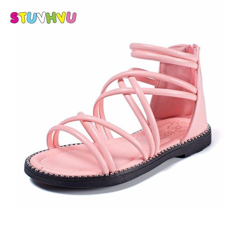 Meiteņu gladiatoru sandales mīkstas ādas apavi vasaras rozā - Bērnu apavi