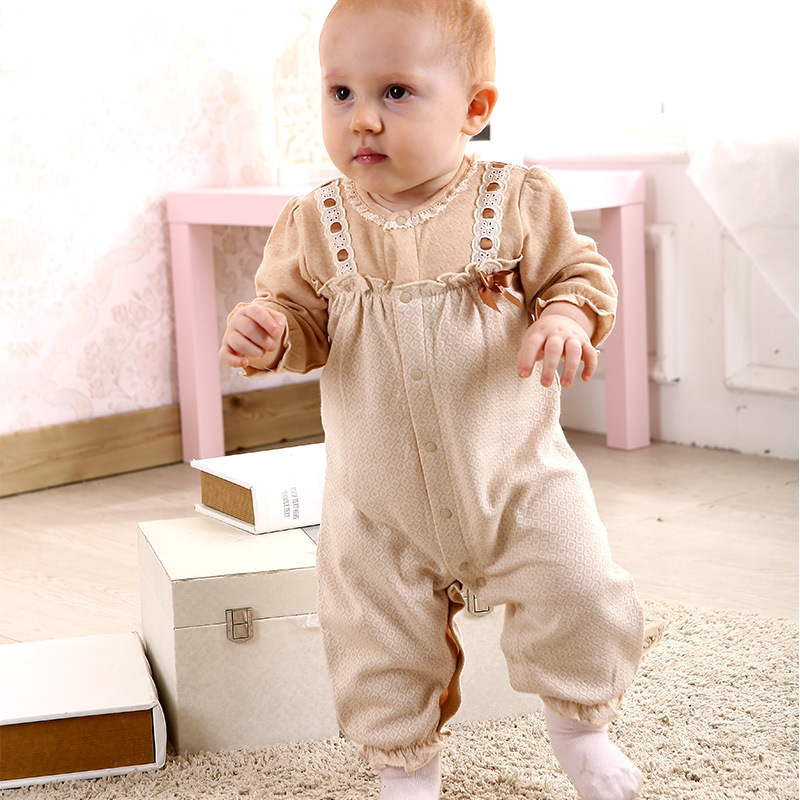 Spring Autumn Fabric Baby Princess  Clothes Natural colored cotton Organic Cotton Brand Baby Clothes Long Sleeve Rompers A0068 warm thicken baby rompers long sleeve organic cotton autumn