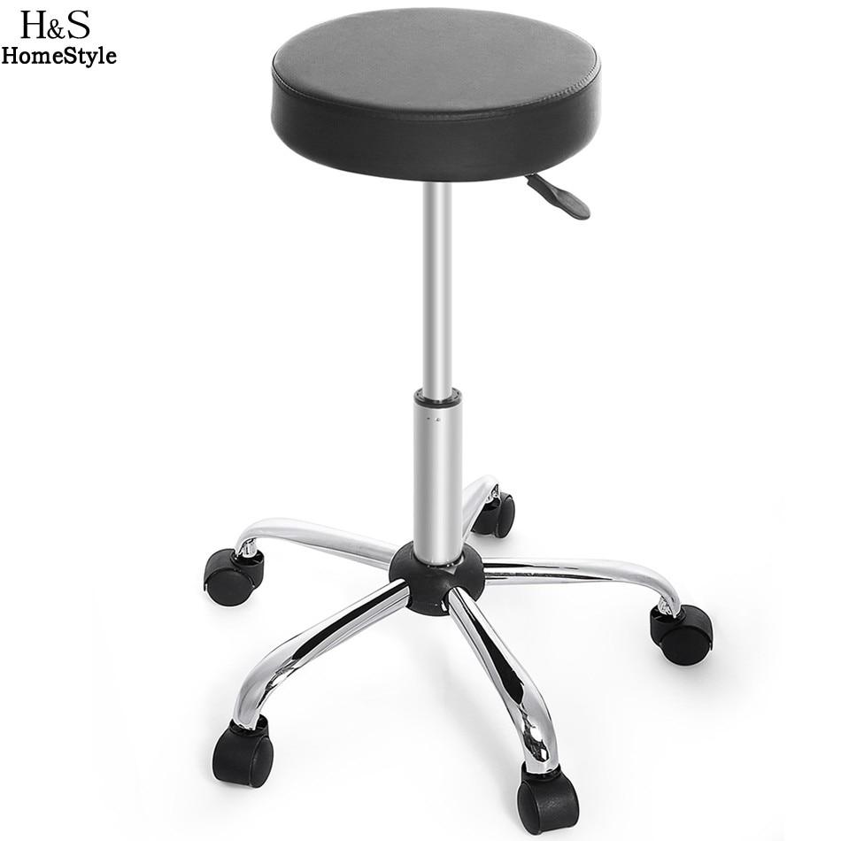 Homdox Искусственная кожа круглый табурет регулируемая высокое Колёса барный стул современный черный N50 *