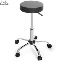 Homdox Synthetic Leather Round Barstool Adjustable High Wheels Bar Stool Modern Chair Black