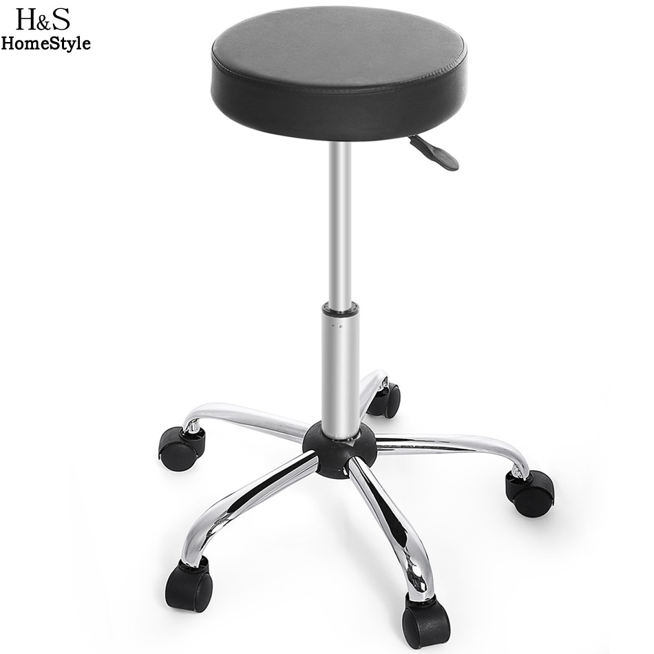 Homdox Synthetic Leather Round Barstool Adjustable High Wheels Bar Stool Modern Chair Black N50*