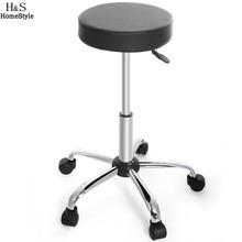 Furniture - Bar Furniture - Homdox Synthetic Leather Round Barstool Adjustable High Wheels Bar Stool Modern Chair Black