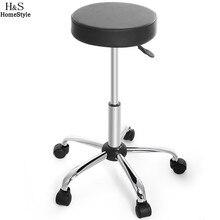 Homdox Синтетическая Кожа Круглый Табурет Регулируемая Высоких Колесах Барный стул Современный Стул Черный