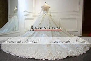 Image 4 - Robe de mariée en dentelle, nouveau Design, robe de mariée luxueuse, pleine perlée, 2019