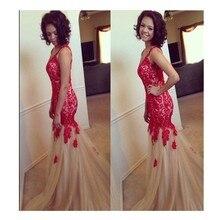 2016 Glamorous Memraid Scoop Bodenlangen Abendkleid Mit Red Appliques Champagne Tüll Abendkleid Benutzerdefinierte Vestido De Noche