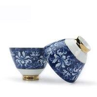100 ml Jingdezhen Traditionele Vergulde Blauw en Wit Keramische Porselein Theekopje Kung Fu Thee Set Puer Tieguanyin Thee Cup