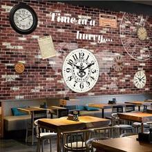 3d wallpaper brick wall clock bar coffee shop background wallpaper mural high-grade waterproof material цена 2017