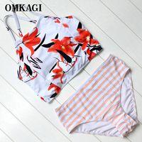 OMKAGI Floral High Waist Bikini Set Back Bandage Bikini Push Up Padded Swimsuit Women Beach Wear