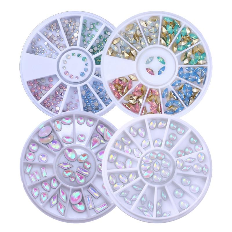 1 Box Multi-size Unicorn Opal AB Color Rhinestone Ellipse Rhombus Round Flat Back Strass for 3D Nail Art Decoration in Wheel mp620 mp622 mp625 projector color wheel mp620 mp622 mp625