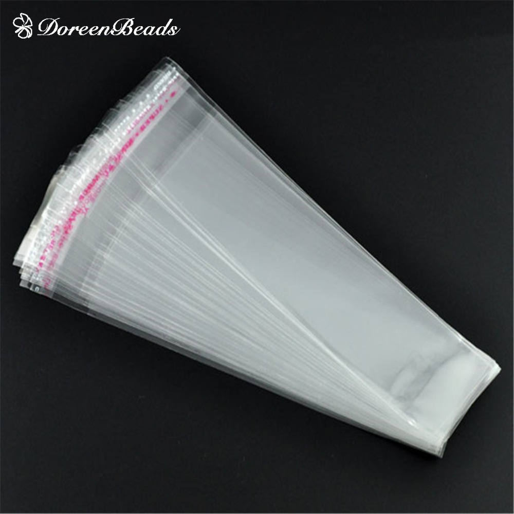 DoreenBeads 200 Clear Self Adhesive Seal Plastic Bags 16x3.5cm (Usable Space: 13.5 X3.5cm) (B08986)