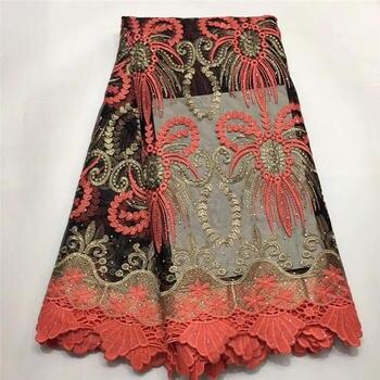 Embroidery Tulle Net Lace Fabric Yellow Purple Black White Peach French Mesh Aso Ebi Wedding Lace Nigerian Lace Fabrics High Qua