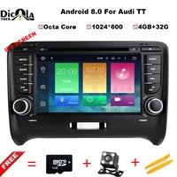Android 8.0 4 г + 32 г Автомобильный мультимедийный Системы для Audi TT MK2 2006 2012 Автомобиль DVD GPS плеер Радио Bluetooth Зеркало Ссылка RDS USB SD CD