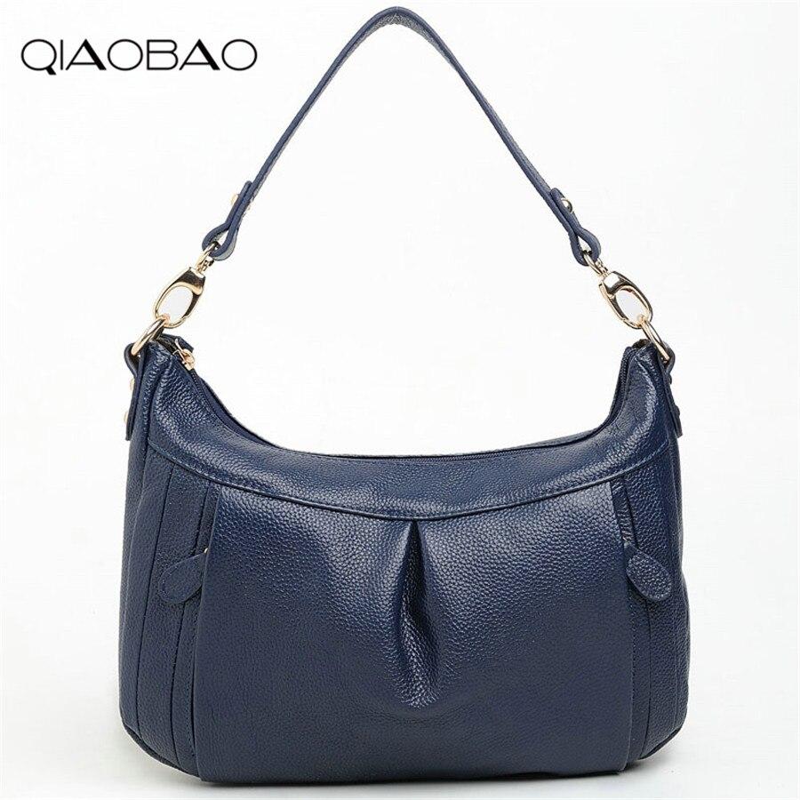 QIAOBAO 2018 100% Cow Leather Women Handbag Bolsas De Couro Fashion Famous Brands Shoulder Bag Black Bag Ladies Bolsas Feminina 11cls bolsas fashion 100