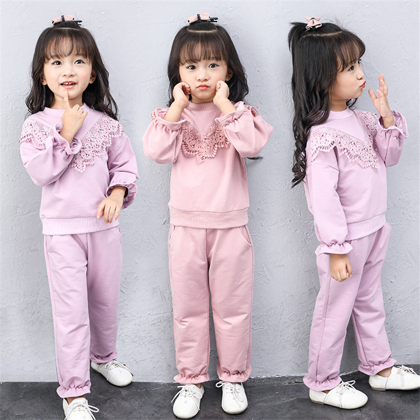 LavnLavn baby girls clothes sets cute girls outfits childrens clothing girls sets lace solid color, 2-10 yrs