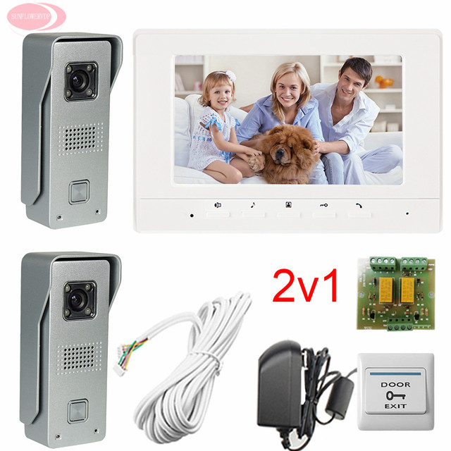 """2v1 Color Video Door Phone Doorbell Intercom Kit  Two 700lines HD Outdoor Units One 7"""" Lcd Free Shipping"""