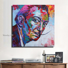handpainted Modern Oil Painting Graffiti Salvador Canvas Art Wall Picture For Living Room Home Decor colorful portrait picture