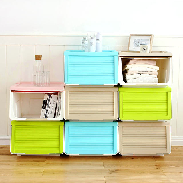 Dust Proof Sliding Door Can Be Stacked Plastic Storage Box Large Clothing  Snack Toy Storage Box