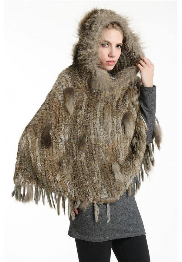 Fashion New Hood Winter Women Raccoon Fur Trim Real Rabbit Fur Knit Poncho Shawl Cape Woman Fur Cappa Cloak Mantle RCS0010
