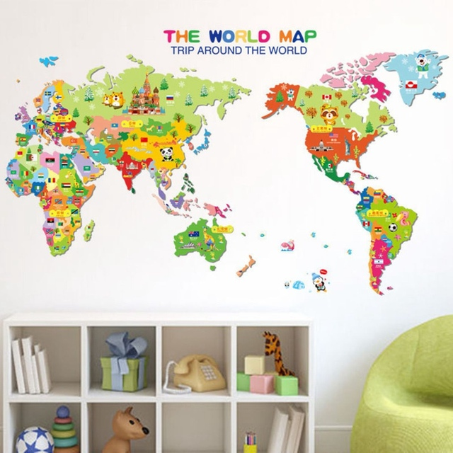 Colorful World Map Wall Sticker Animals World Map Mayitr PVC Kids - Colorful world map