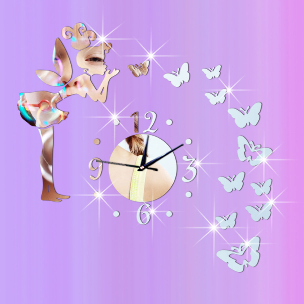 1set New Fashion Silver Golden Creative Fairy Butterfly Mirror Acrylic Wall Clock DIY Wall Stikcer Home Decoration B5