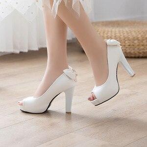 Image 3 - YMECHIC 2019 White Wedding Shoes Bride Women High Heel Pumps Peep Toe Slip Bowtie String Bead Ladies High Heels Shoes Plus Size