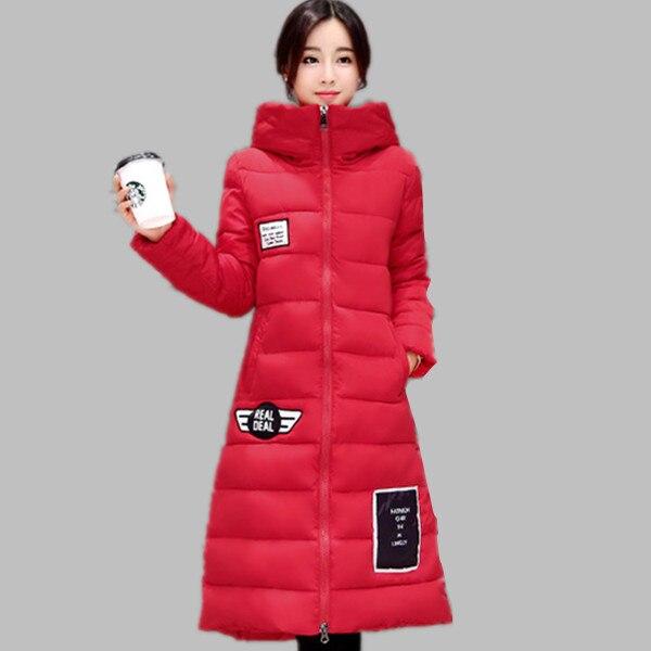 Femmes Long Down Veste D'hiver Femmes Parka 2017 Nouvelle Arrivée Rembourré Chaud Dames Plus La Taille Manteaux Noir/Rouge M-XXXL E636