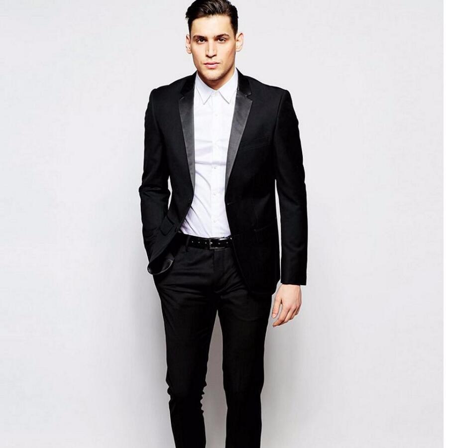 Apuesto hombre casual traje negro Groom Esmoquin por encargo para hombre  traje de boda groomsman novio desgaste (chaqueta + Pantalones) - Memang  Store e7de165fad8