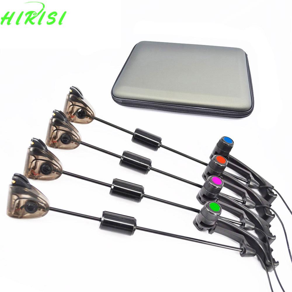 Fishing Swinger <font><b>Bite</b></font> <font><b>Alarms</b></font> Indicator Set Electronic Illuminated 4pcs In Eva Case Carp Coarse Fishing Tackle