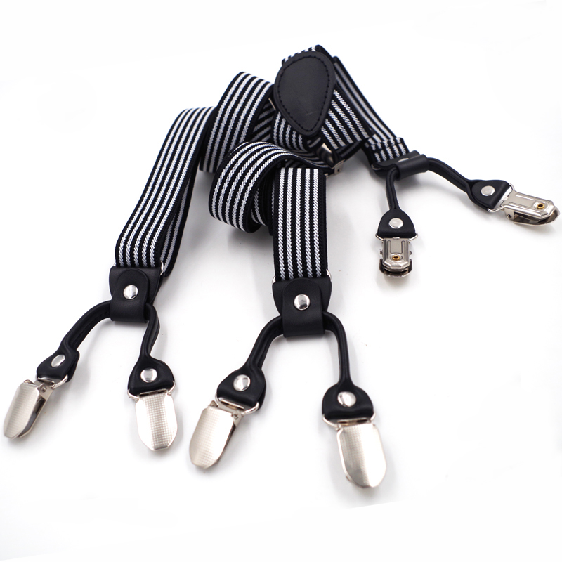 Man's Braces  6 Clips Leather Suspenders Adjustable Elasticity Suspensorio Bretelles Hommes Y-Back Ligas Tirantes 2.5*120cm Gift