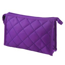VSEN Purple Womens 7.9″ Long Grid Pattern Rectangle Travel Case Makeup Zipper Bag