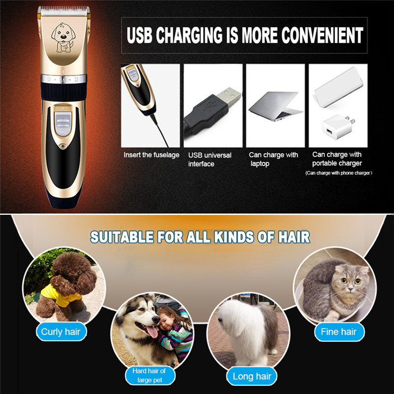 Cat Dog Hair Trimmer Electrical Pet Hair Clipper Remover Cutter Grooming  Low Noise Rechargeable Cordless Pets 77ba77e222