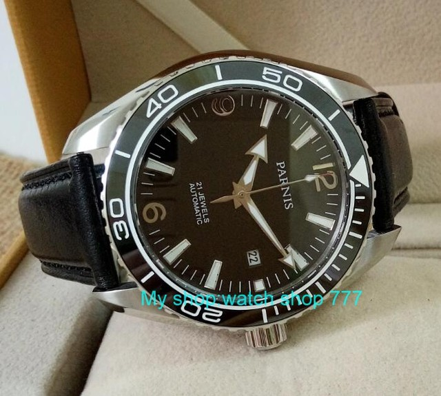 sapphire Crystal 45mm PARNIS Japanese 21 Jewels Automatic Self Wind Mechanical movement ceramics Bezel 5ATM Mens Watches 05a