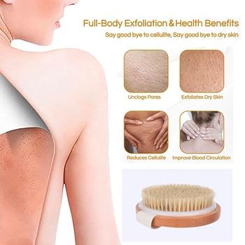 TREESMILE Natural bristles Bath brush Body Maasage No Handle Bath Brush Body Exfoliating SPA Hot Dry Skin Body Wooden Dry Brush 4