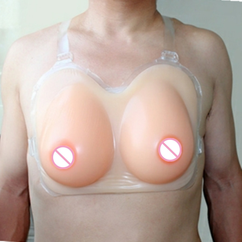 free shipping ,cheap realistic open sexy boobs external silicone breast prosthesis 1200g D cup shemale cross-dressing