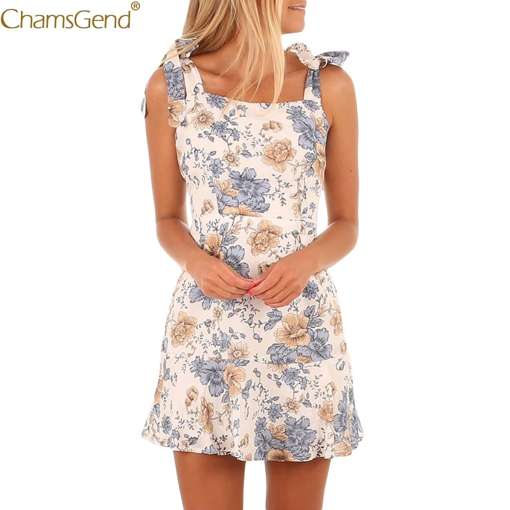 Sexy Bandage summer dress 2019 for girls summer dresses casual beach Sleeveless Flower Printed Polyester Mar
