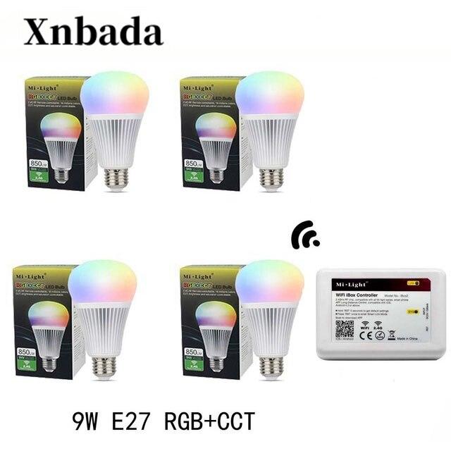 Mi lumière lampe à Led E27 9 W RGB + CCT Led ampoule + IBX2 RF télécommande wifi Led projecteur lumière variateur Led lumière AC85-265V livraison gratuite
