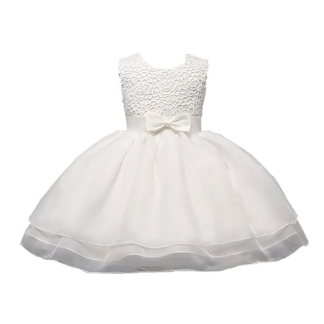 Baby girl princess white wedding dress vestidos de bautizo niño recién nacido ropa 1 año de cumpleaños dress traje de la muchacha