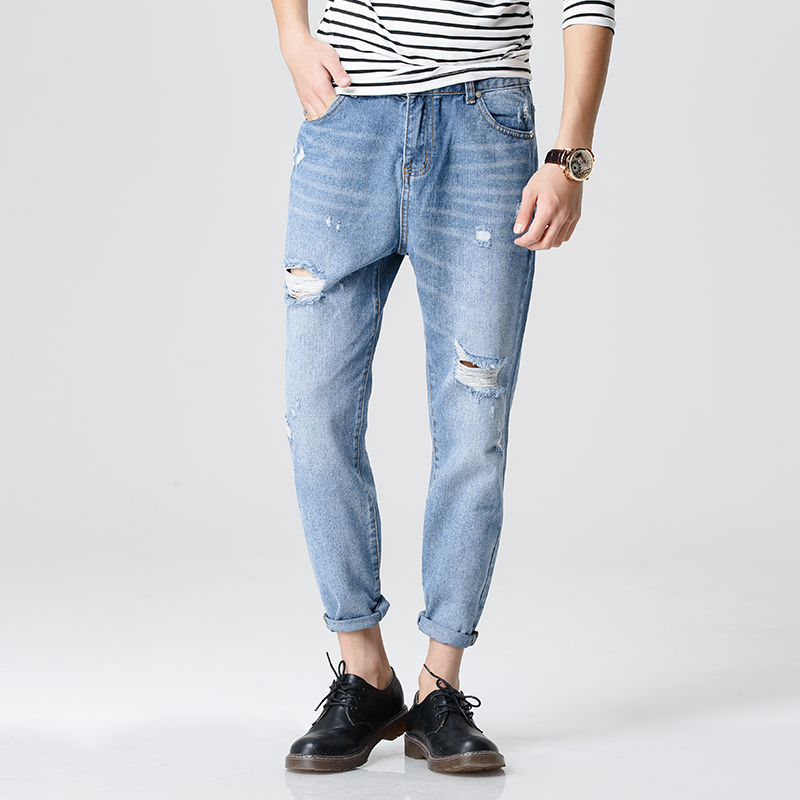 ФОТО ankle-length M-XXL Quality 2017 Spring New Arrival Ripped Jeans For Men Fashion Brand Men Jeans Slim Fit Jeans Men JX61
