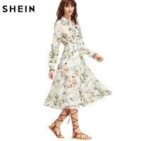 SheIn Boho Casual Midi Dress Women Bohemian Dress White Lapel Long Sleeve Floral A Line Shirt