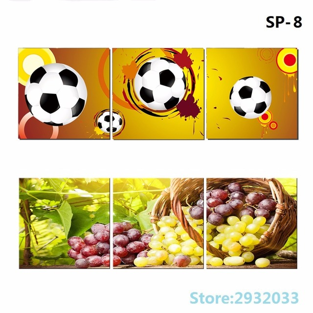 3 Panels Canvas Printed Football Poster Sports Wall Art Decor ...