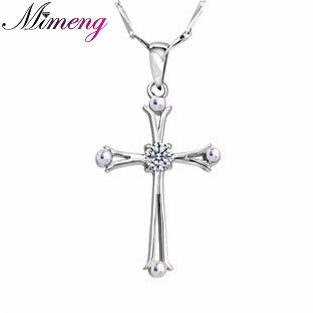 SILV 100% 925 Sterling Silver Cross Necklace Fine Jewelry Necklaces & Pendants Sterling Silver Jewelry FREE SHIPPING