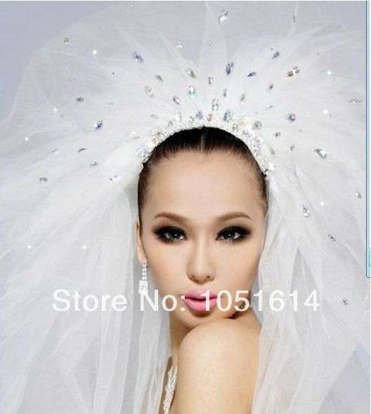 Free Shipping New Fashion Design Crystals Beaded Long Tulle Bridal Veil
