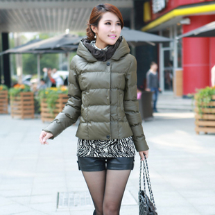 2013 winter new arrival pu thick slim outerwear women's short cotton coat