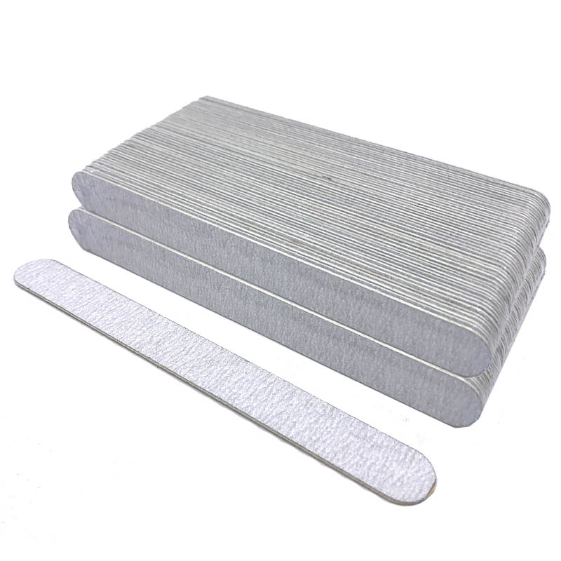 Wholesale 100pcs Grey Nail File Round Straight Nail Art Sanding Files Nagel Vijlen Double Side Trimmer Buffer Manicure Pedicure