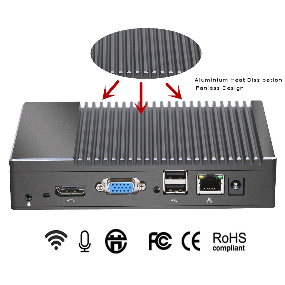 2019 New Metal Case Mini Pc Windows 10 AMD Quad Core X86 Fanless Small Size SSD  Wifi Bluetooth VGA HDMI Computer