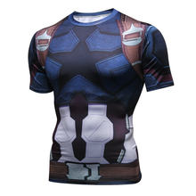 New 2018 Captain America Short Sleeved Tights Avengers Alliance 3D Sports Jerseys Gym Sport Top Tee Clothing Men's Sportswear(China)