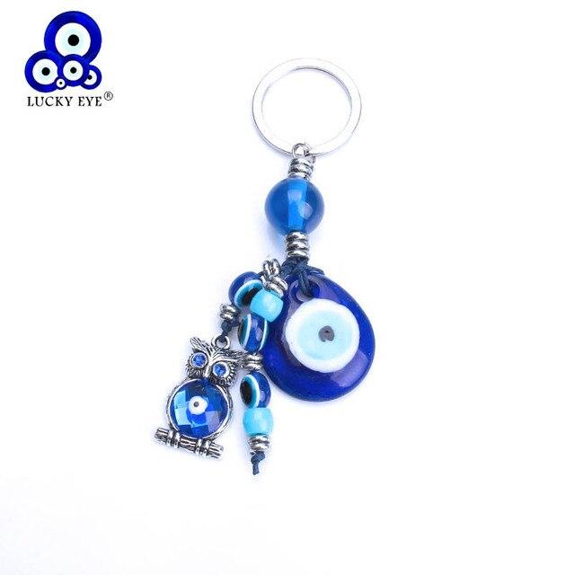 Ojo de la suerte azul ojo malvado cristal llavero aleación borla búho llave Hamsa mano coche llavero para hombres chico joyería regalos EY1082
