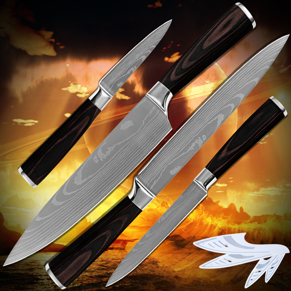 Hot products kitchen font b knives b font laser Damascus flowing sand pattern 7Cr17 stainless steel